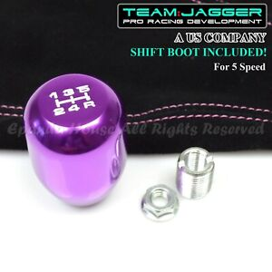 For Chrysler Dodge M8 White 5 Speed Metal Manual Shift Knob Purple Suede Boot