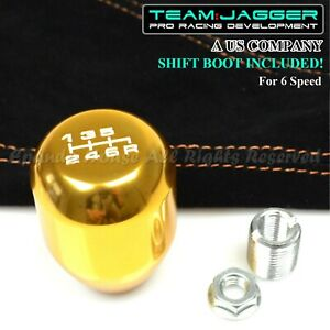 For 70 04 Ford Mustang M12 White 6 Spd Metal Manual Shift Knob Gold Suede Boot