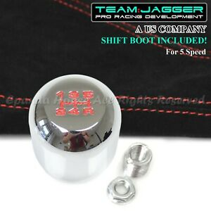 For Chrysler Dodge M8 Red 5 Spd Metal Manual Shift Knob Chrome Red Stitch Boot
