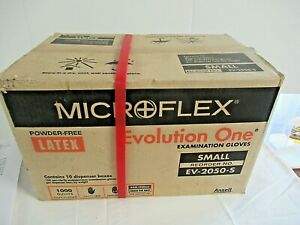 Lot Of 10 Boxes Of 100 Microflex Evolution One Latex Glove Powder Free Sz Small