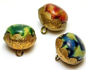 Antique Charmstring Buttons Celluloid In Brass Red Green Blue Gold Three