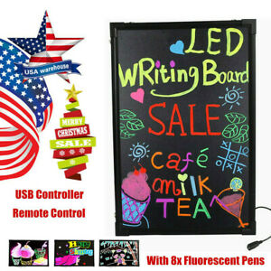 32 24 Flashing Illuminated Erasable Led Writing Board Message Sign Menu Remote