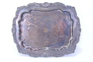 Vintage E P C A Ornate Footed Silverplate Tray By Poole No 403