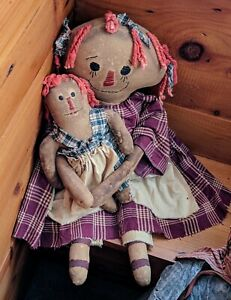 Country Primitive Raggedy Ann Her Doll Folk Art Tea Stained Body Face 20