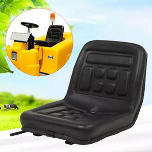 Black Tractor Seat W slide Tracks And Drain Hole Water resistant Durable