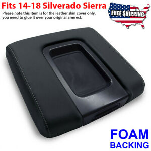 Fit 14 19 Chevy Silverado Sierra Center Console Armrest Lid Cover Gray Stitch