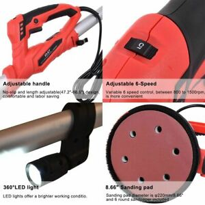 Durable Adjustable Electric Drywall Sander W vacuum Led Light