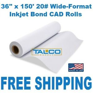 4 Ct Rolls 36 x150 20lb Bond Cad Plotter Paper Inkjet 2 Core 92 Bright White