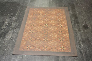 Beautiful Primitive 4 X6 Floorcloth Painted Colonial Floor Cloth Oil Cloth Rug