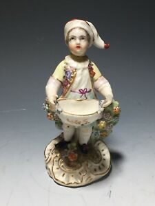 Antique Dresden German Porcelain Figurine Girl With Flowers As Is