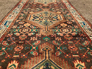 2x10 Persian Runner Rug Heriz Hand Knotted Antique Woven Teal Brown 2x9 3x10 3x9