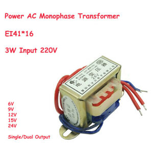 3w Ei41 Ferrite Core Input 220v Vertical Electric Power Ac Monophase Transformer