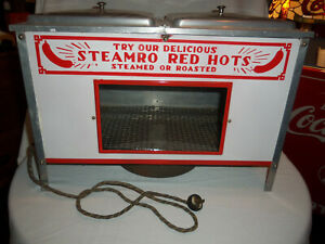 Antique Steamro Red Hots Electric Hot Dog Warmer Star Steamro Porcelain Sign