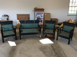 Vintage Charles Stickley Bench And 3 Arm Chairs Mission Oak 1900 S Holy Land