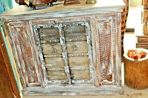 Antique Distressed Rustic Chest Indian Furniture Tv Console Cabinets Buffet