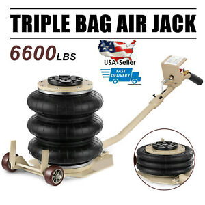 6600lbs 3 Ton Lifts Triple Stage Bag Air Go Jack Frame Alignment Car Truck Shop
