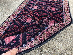 2x12 Persian Runner Rug Black Hand Knotted Antique Oriental Coral Blue 2x11 2x13