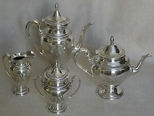 Custom Sterling Silver 4 Piece Coffee Tea Service By Ellmore Gorham Post 1935