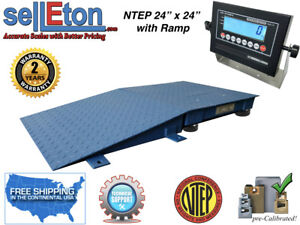 Floor Scale Ntep 1 Ramp 24 X 24 2 X 2 5000 Lbs X 1 Lb With Lcd Display
