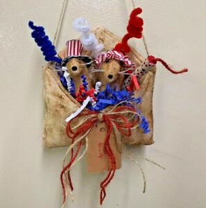 Primitive Envelope Farmhouse Mouse Uncle Sam Red White Blue Grunged