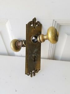 Vintage Brass Doorknob And Backplate Set Solid Brass Knobs Escutcheons
