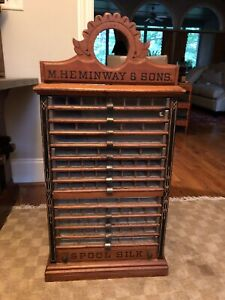 Antique M Heminway Sons 14 Drawer Spool Thread Cabinet
