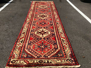 3x10 Persian Runner Rug Caucasian Wool Hand Knotted Antique Heriz Red Blue