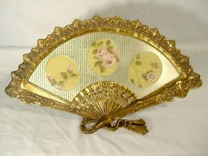 Vintage Heavy Ornate Brass Fan Shape Picture Frame For 3 Oval Photos Easel Back