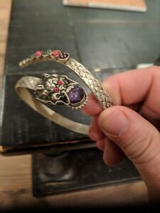 Vintage Oriental Chinese Sterling Silver Coral Amethyst Dragon Adjustable Rare