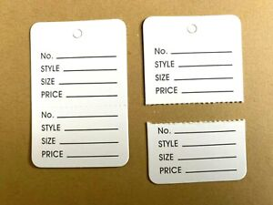 White Two Part Price Tag Clothing Coupon Price Hang Label