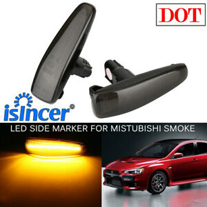 Smoke Lens Amber Led Front Side Marker Lights For Mistubishi Lancer Evo X Mirage