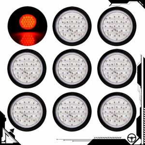 8x 4 Inch Red 24 Led Round Stop Brake Clearance Lens Tail Light Truck Trailer