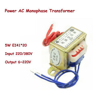 5w Ei41 Ferrite Core Input 220 380v Power Ac Monophase Transformer Output 6 220v