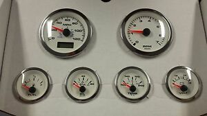Veethree White Premier 6 Gauge Kit Gps Speedometer 69654 Street Hot Rod