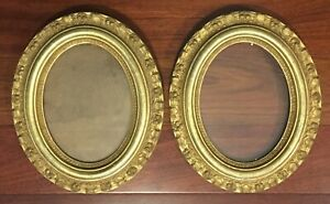 Antique Pair Oval Victorian Aesthetics Gilt Gesso Painting Photo Portrait Frame