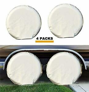 Kayme Four Layers Tire Covers Set Of 4 For Rv Travel Trailer Camper Vinyl Wheel