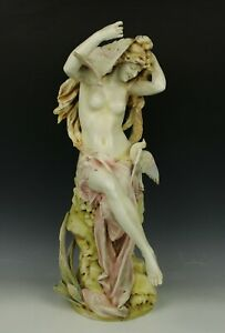 Large 20 Amphora Rstk Turn Teplitz Figurine Woman With Doves