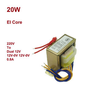 20w Ei57 Ferrite Core Power Ac Monophase Transformer 220v To Dual 12v 2x12v 0 8a