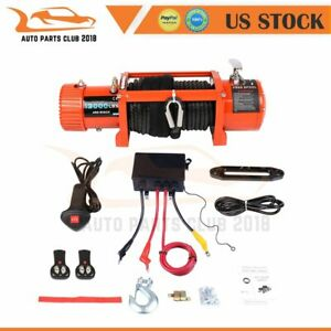13000lbs Electric Recovery Winch 86ft Synthetic Rope Off Road 4wd Truck Suv 12v