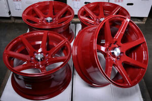 15 Wheels Corolla Lancer Honda Civic Accord Cooper Passat Jetta Red Rims 4x100