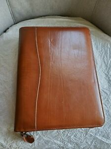 Day timer Zip Brown Genuine Leather Organizer Planner Cover 7 Ring 10 5 X 8