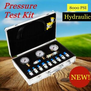 Hydraulic Pressure Test Kit For Excavator 3 Pressure Guage 11 Coupling Stainless