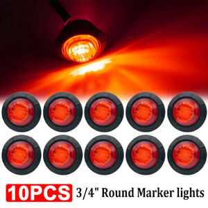 10x 3 4 Red Small Round Side Marker Lights 3led Button Lamps Truck Lorry Rv 12v