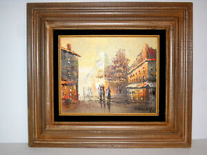 Vintage Mid Century Cityscape Abstract Oil Painting On Canvas 17 X15 Framed