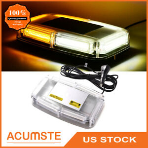 Us 6 Cob Led Emergency Flash Warning Roof Top Strobe Light Amber White Car Truck