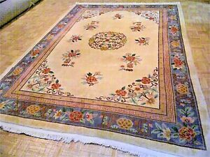 8x11 Chinese Rug Vintage Peking Nichols Authentic Hand Made Oriental Rug 1960s