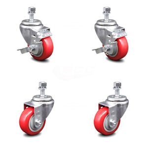 Poly Swvl Ts Caster Set Of 4 W 3 5 Red Wheels And 1 2 Stems 2 W brake