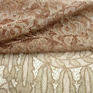 Antique French Pink And Metal Thread Lace