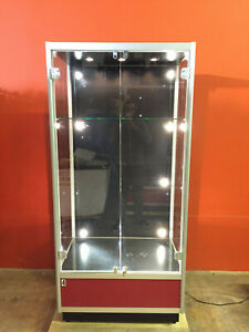 Glass Locking Display Cabinet 10 Lights 3 Top 7 Back