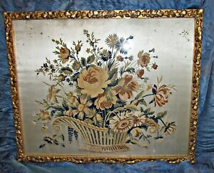 Antique Chenille Embroidery Sampler Basket Of Flowers On Silk Framed